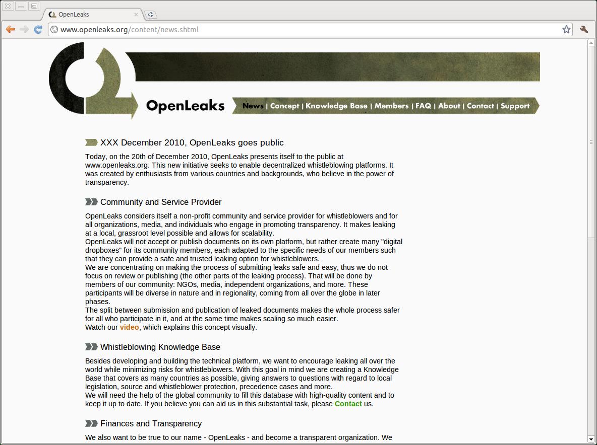 Openleaks: Whistleblower-Webseite leakt Whistleblower-Webseite - Inoffizielle Openleaks-Webseite
