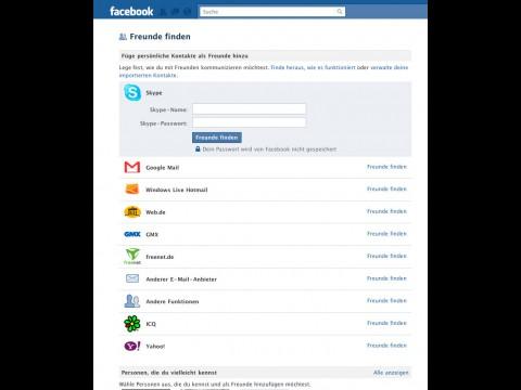 Facebooks Freunde-Finden-Funktion durchsucht E-Mail- und IM-Konten sowie Smartphone-Adressbücher.