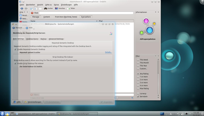 Test: KDE SC 4.6 zeigt Aktivität und glättet Fenster - Nach einer Indizierung kann Dolphin auch ohne Nepomuk eine erweiterte Suche starten.