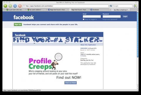 """Webseite der Facebook-Anwendung """"We Catch Stalkers"""""""