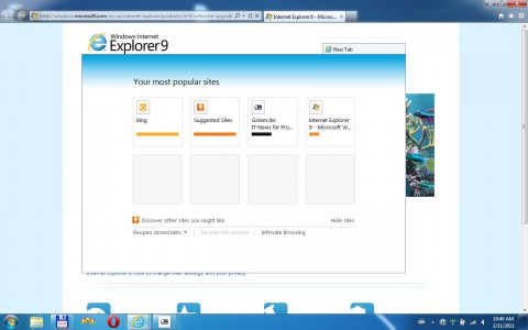Internet Explorer 9 RC - Tab per Drag & Drop aus der Tableiste gezogen...
