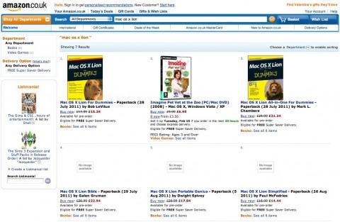 Literatur zu Mac OS X Lion for Dummies (Bild: Amazon)