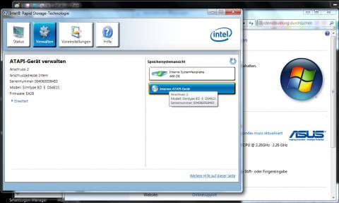 Das DVD-Laufwerk hängt am defekten Port 2.
