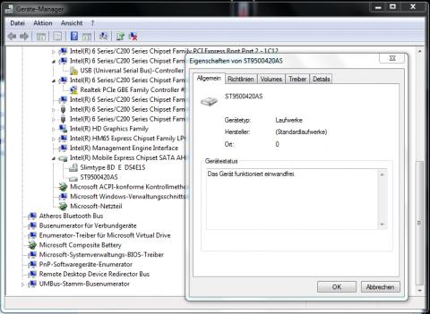 Der Geräte-Manager ordnet die Festplatte Port 0 zu.