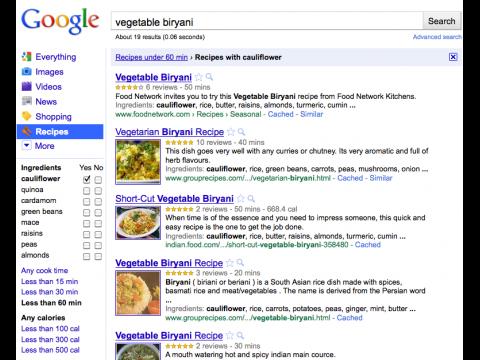 Google Recipe View - einschränkende Suche nach Zutaten