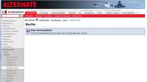 Screenshot vom 1. Februar 2011 - hier standen gestern noch Dutzende Mainboards.