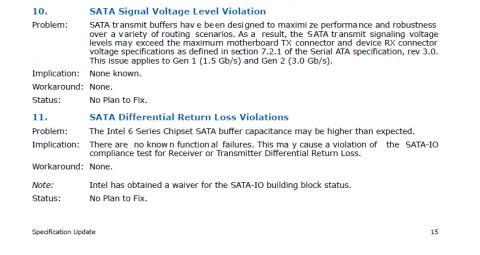 Ausschnitt aus Intels Specification Update Nr. 324646 für den P67-Chipsatz