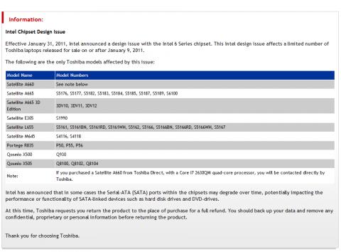 Liste der zurückgerufenen Toshiba-Notebooks