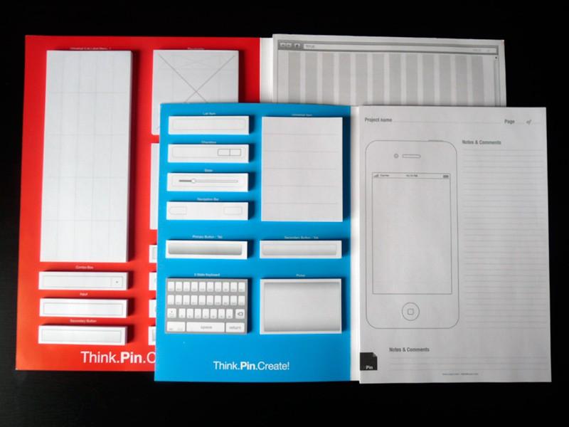 UXPin Mobile: Paper-Prototyping-Kit für iPhone-Apps - UXPin Portable Kit (rot) und UXPin Mobile Kit (blau)