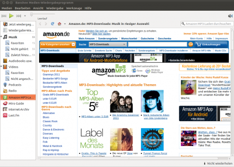 Banshee mit dem Amazon MP3 Music Store