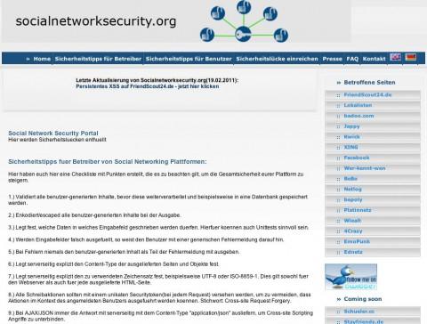 Socialnetworksecurity.org - bietet auch Tipps für Social-Network-Betreiber