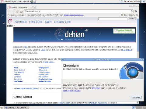 Der Chromium-Webbrowser mit der neue Debian-Webseite