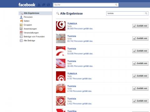 Facebook-Fanseiten zu Tunesien
