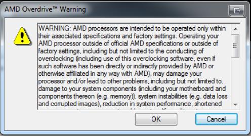 Radeon HD 6990: AMD bestätigt Garantieverlust bei Übertaktung - Auch AMDs CPU-Tool Overdrive kennt Warnhinweise.