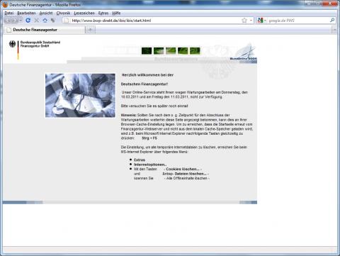 Die Finanzagentur ist offline. (Screenshot vom 11.03.2011)
