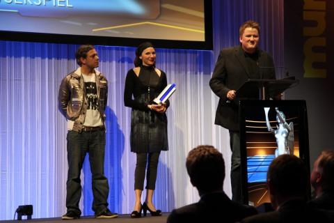 Christopher Schmitz von Blue Byte freute sich über den Preis für Die Siedler Online.