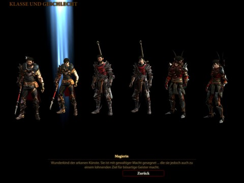 Am Anfang kann der Spieler zwischen sechs Versionen des Haupthelden wählen.