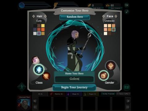 Vor dem Start wählt der Spieler zwischen Krieger, Schurke oder Magier.
