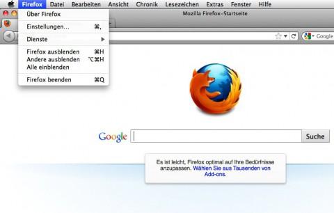 Der neue Firefox-Button unter Mac OS X