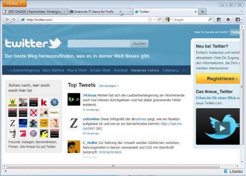 Firefox 4 mit Tabs on Top