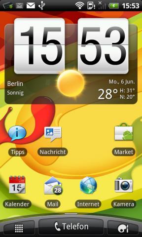 Den Homescreen des Desire S hat HTC mit Sense erweitert. Über die Schaltfläche unten rechts ...