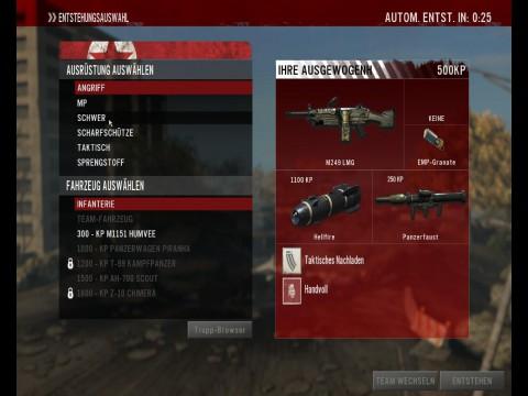 Im Multiplayermodus wählt der Spieler Waffen und Klassen.