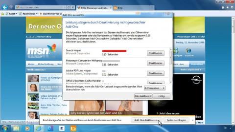 IE9 weist auf Plugins und Erweiterungen hin, die die Leistung beeinträchtigen.