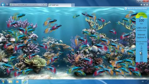 Fishtank-Demo zeigt Canvas 2D mit Hardwarebeschleunigung, WebGL wird nicht unterstützt.