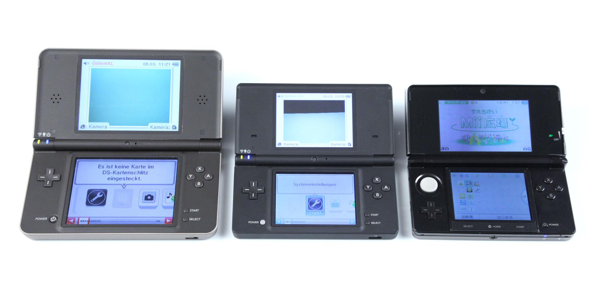 3DS: Nintendos Neuer im Importtest - Von links nach rechts: DSi XL, DSi, 3DS (Foto: mw)