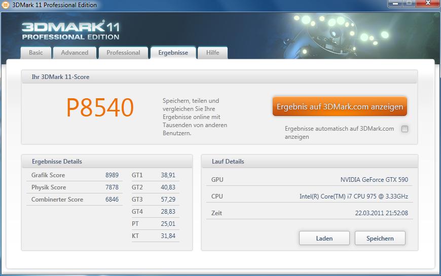 """Geforce GTX 590 im Test: Nvidias Doppel-GPU ist leiser, aber nicht immer schneller - Einzelergebnisse von 3DMark 11 """"Performance"""""""