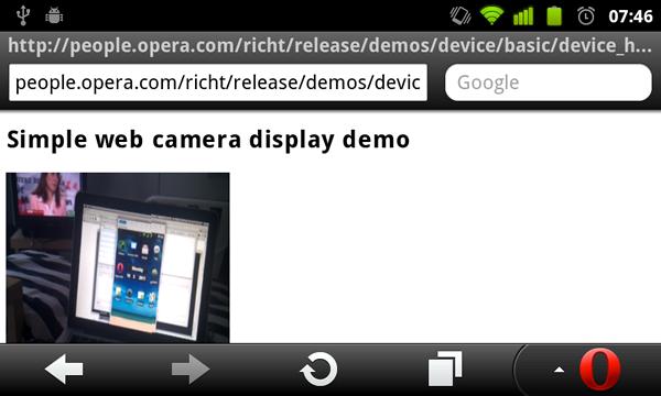 Device und Orientation: Opera Mobile wird zum filmenden Kompass - Device-Element erlaubt Webapplikationen Zugriff auf integrierte Kameras.