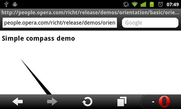 Device und Orientation: Opera Mobile wird zum filmenden Kompass - Kompass mit Hilfe der Spezifikation DeviceOrientation Event