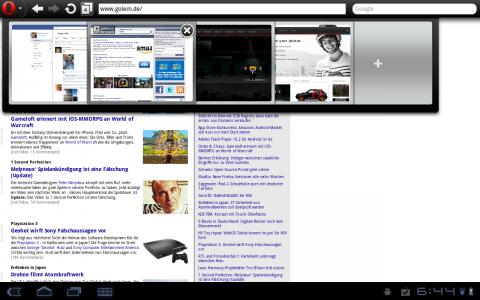 Opera Mobile 11 auf einem Android-Tablet mit offenen Tabs