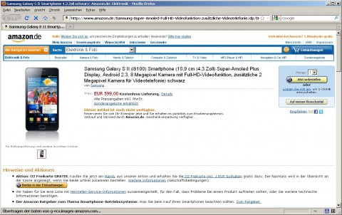 Samsung Galaxy S2 bei Amazon