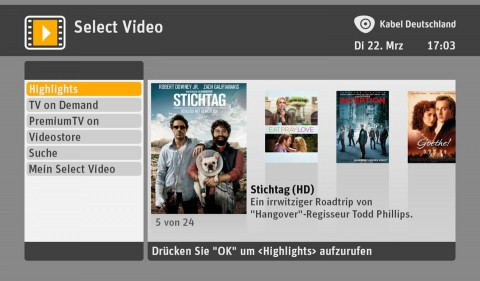Select Video von Kabel Deutschland
