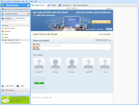 Skype-Anwendung (Windows) mit Werbung