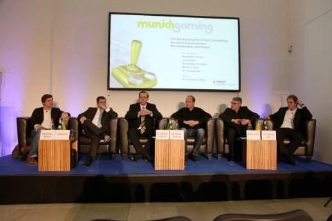 Maximilian Ahrens, Zimory; Jörg Asma, KPMG; Moderator Andreas Leißner, KMPG; Nils-Holger Henning, Bigpoint; Martin Lorber, EA, und Pascal Zuta, Aeria Games (v.l.n.r.)