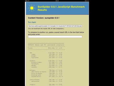 Sunspider-Benchmark in der Version von Maximiliano Firtman, gestartet vom Home-Bildschirm eines iPad mit iOS 4.3