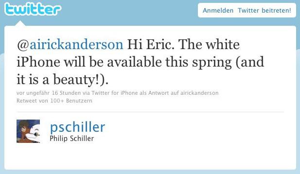 Apple-Marketing-Chef Philip W. Schiller bestätigt das weiße iPhone 4.