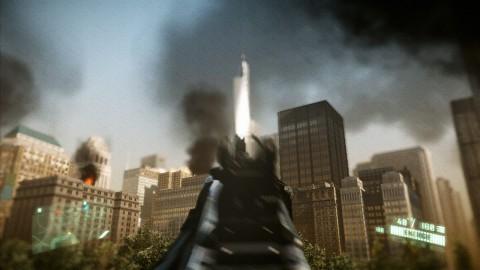 In der Realität erst halb so hoch - in Crysis 2 schon fertig: das neue World Trade Center (Alle Bilder: Xbox 360)
