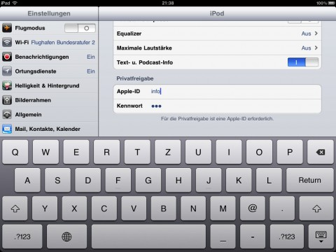 how to turn on home sharing on itunes ipad