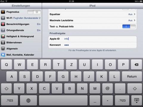 Privatfreigabe alias Home Sharing. Mit einer Apple-ID kann der Anwender auf die iTunes-Bibliothek eines Windows- oder Mac-Rechners zugreifen.