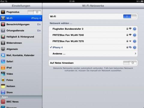 Verbindung mit einem iPhone, das als WLAN-Hotspot konfiguriert ist. Zu beachten ist das andere Symbol.