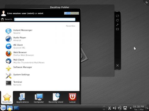 Startmenü von Linux Mint Kde