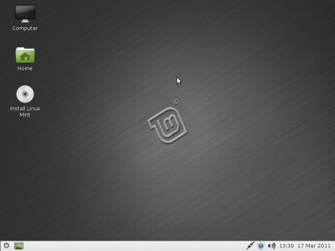 Linux Mint 10 LXDE - Startbildschirm