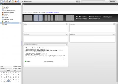 Die neue Startseite von Open-Xchange 6.20