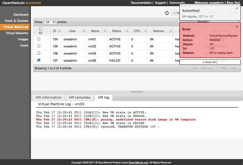 Virtualisierung: Opennebula 2.2.0 verwaltet Clouds per Webinterface