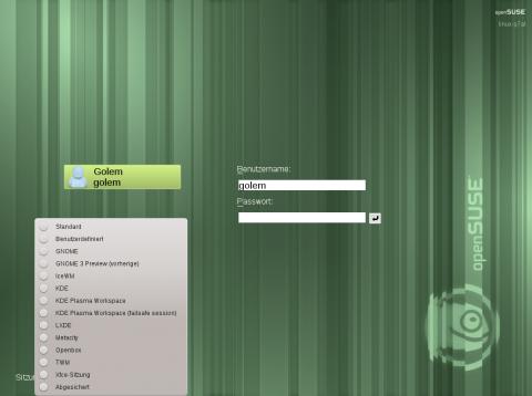 Bei der Anmeldung stehen die installierten Desktops zur Auswahl.