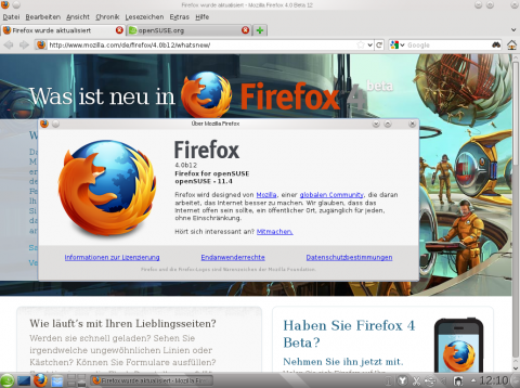 Firefox in Version 4.0b12
