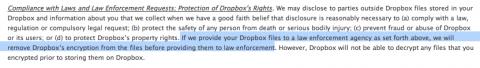 Der fragliche Ausschnitt aus den Dropbox-AGB